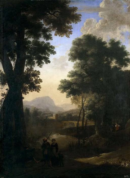 Swanevelt, Herman van -- Paisaje con caminantes con un niño y perro. Part 6 Prado Museum