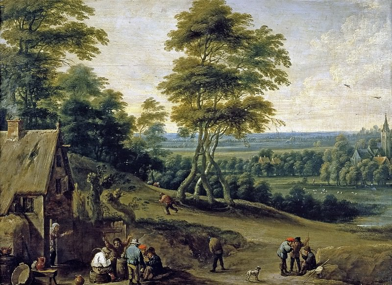Teniers, David; Uden, Lucas van -- Merienda de aldeanos. Part 6 Prado Museum