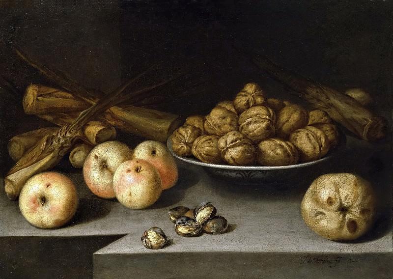 Medina, Pedro de -- Bodegón con manzanas, plato de nueces y caña de azúcar. Part 6 Prado Museum