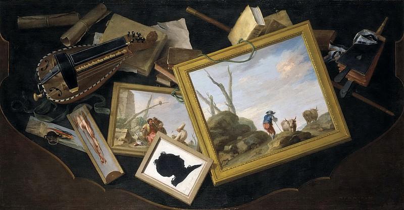 Flipart, Charles Joseph -- Mesa revuelta con pinturas, zanfonía, libros y otros objetos en trampantojo. Part 6 Prado Museum