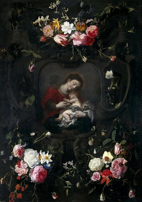 Seghers, Daniel -- Guirnalda con la Virgen y el Niño. Part 6 Prado Museum