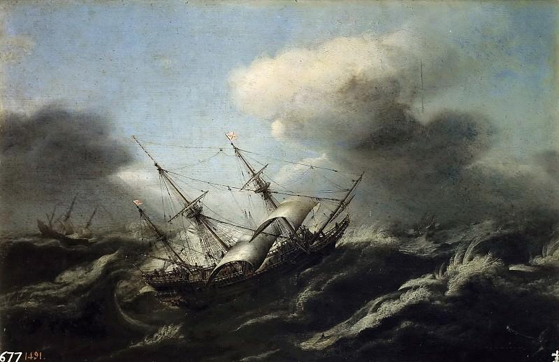 Wou, Claes Claesz. -- Navíos en una tormenta.. Part 6 Prado Museum