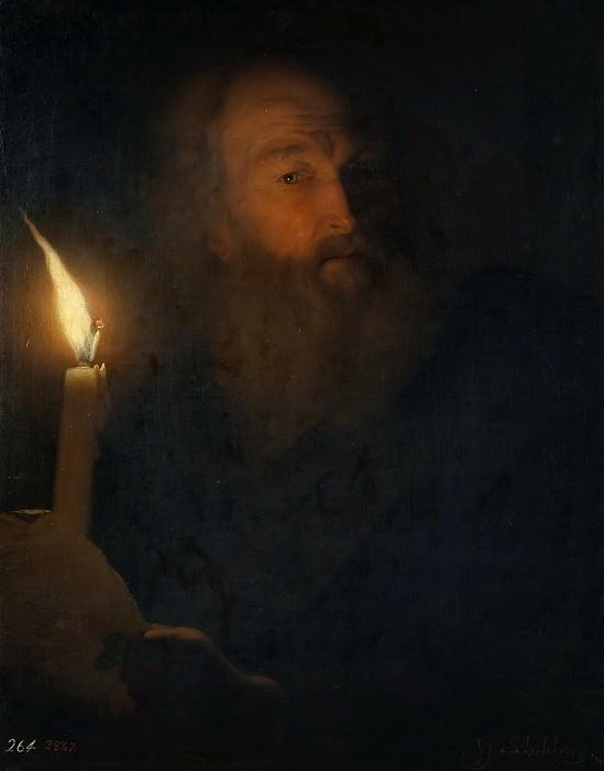 Schalcken, Godfried -- Anciano leyendo a la luz de una vela. Part 6 Prado Museum