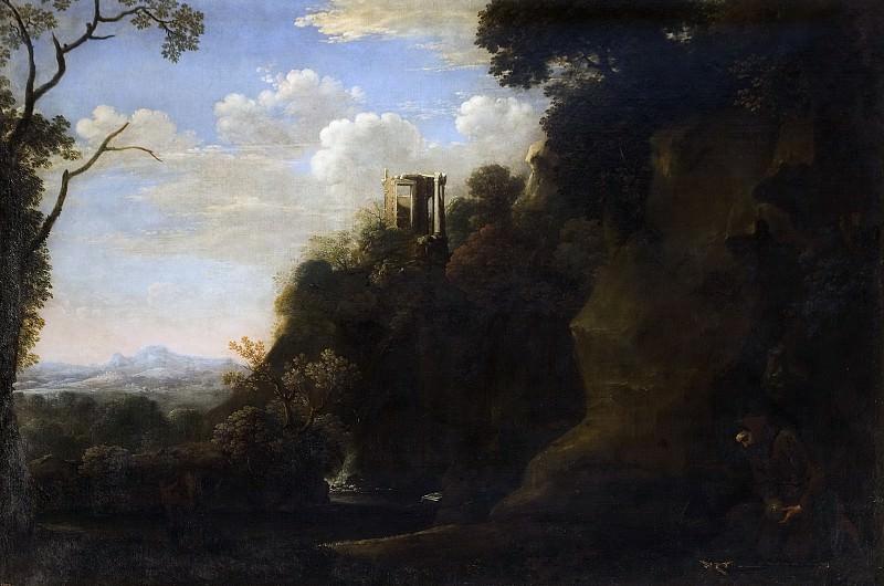 Swanevelt, Herman van -- Paisaje con San Francisco en meditación. Part 6 Prado Museum
