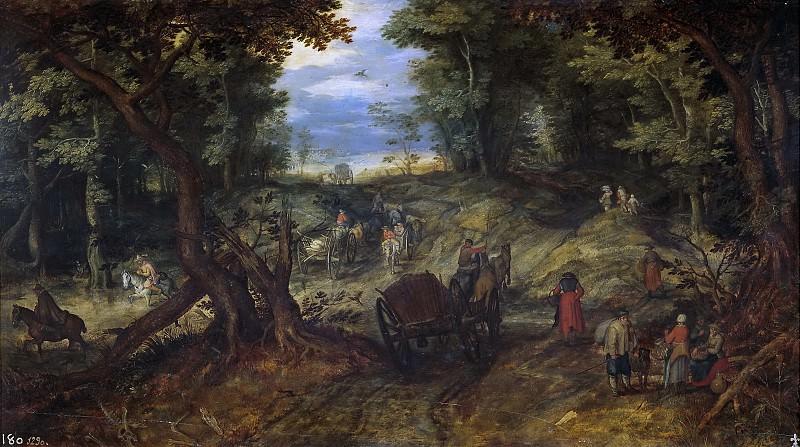 Bosque con carretas atraversando un arroyo y jinetes. Jan Brueghel The Elder