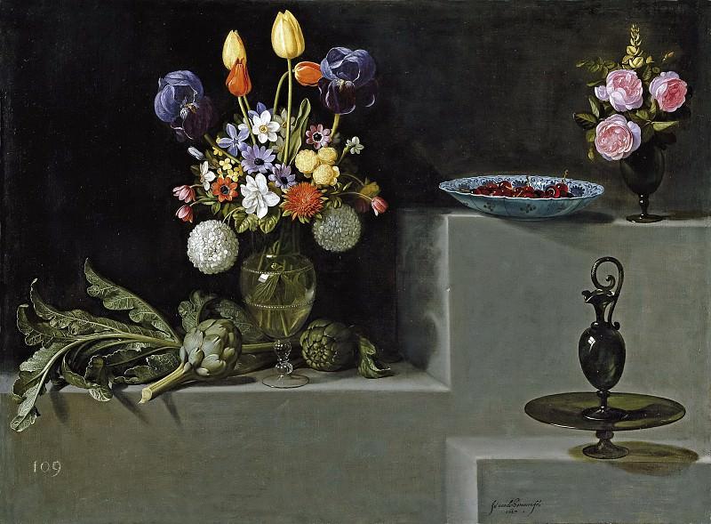Хамен и Леон, Хуан ван дер -- Натюрморт с артишоками, цветами и стеклянной посудой. часть 6 Музей Прадо