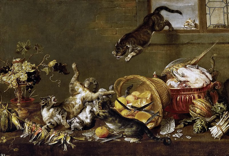 Vos, Paul de -- Pelea de gatos en una despensa. Part 6 Prado Museum