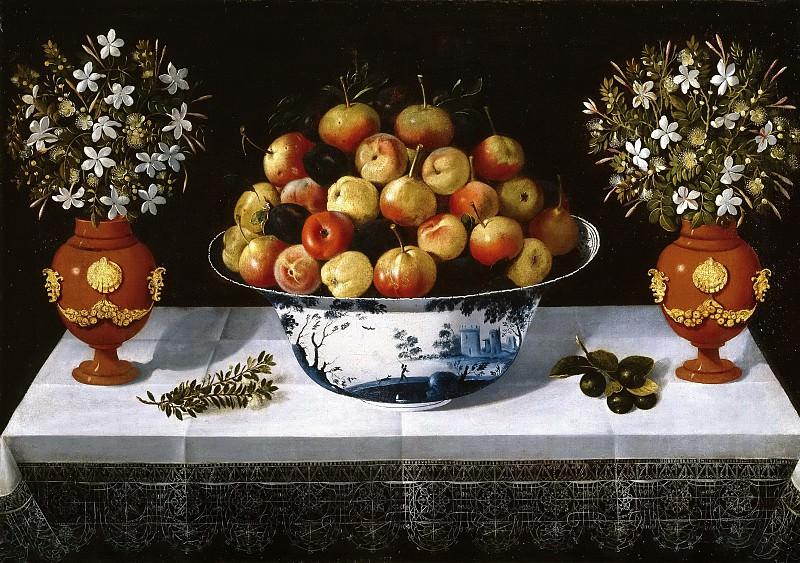 Hiepes, Tomás -- Frutero de Delft y dos floreros. Part 6 Prado Museum