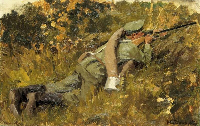 Солдат на позиции 34х48см Картон масло. часть 2 - русских и советских худ Русские и советские художники