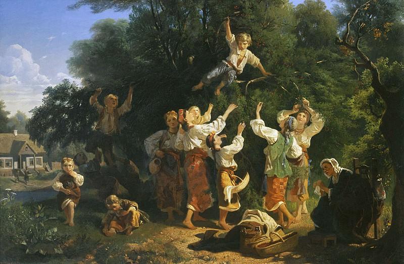 Сбор вишни в помещичьем саду 1858 Холст масло. часть 2 - русских и советских худ Русские и советские художники