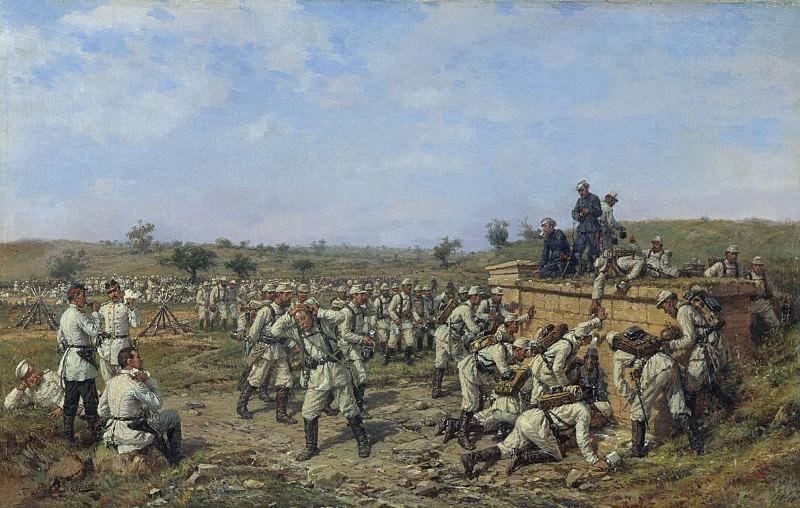 Привал 140 го пехотного Зарайского полка 35 й пехотной дивизии 1877 год 1880 е Холст масло 4. часть 2 - русских и советских худ Русские и советские художники
