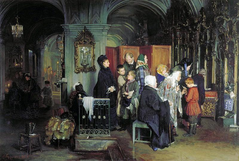 Перед исповедью 1877 холст масло 108х160 см. часть 2 - русских и советских худ Русские и советские художники