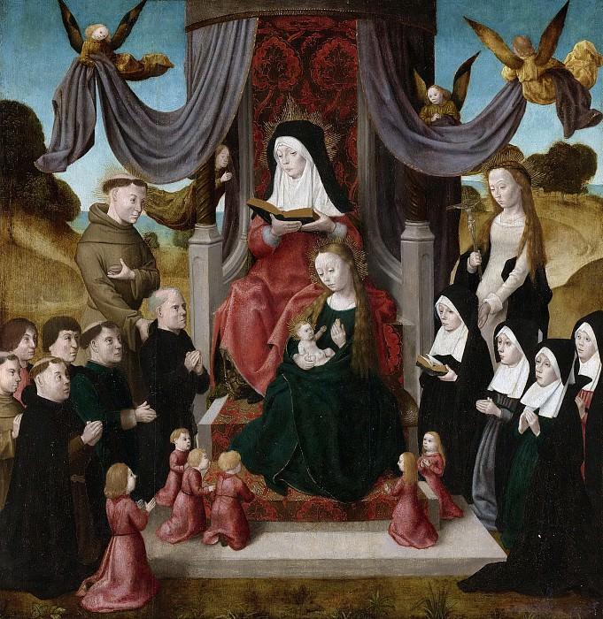 Meester van het Johannes-Altaar -- De heilige Anna te Drieën met stichters en de heiligen Franciscus en Lidwina, 1490-1500. Rijksmuseum: part 4