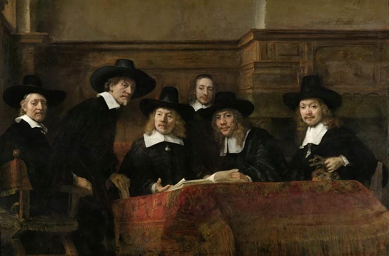 Rembrandt Harmensz. van Rijn -- De Staalmeesters, het college van staalmeesters (waardijns) van het Amsterdamse lakenbereidersgilde, 1662. Rijksmuseum: part 4
