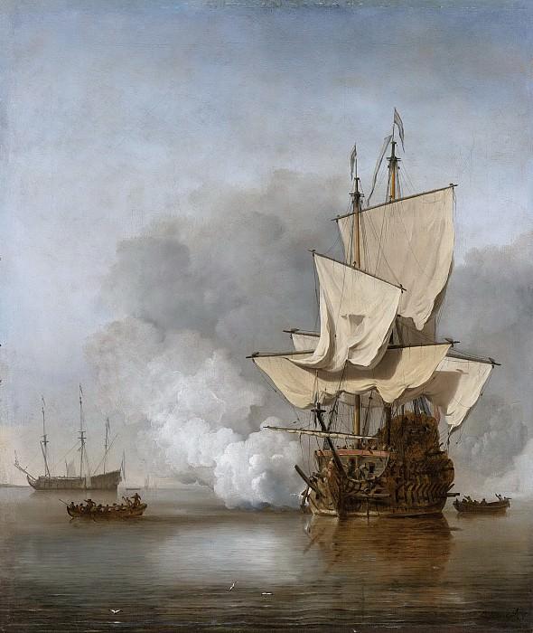 Velde, Willem van de (II) -- Het kanonschot, 1680. Rijksmuseum: part 4
