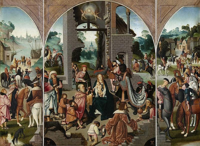 Meester van Alkmaar -- Drieluik met de aanbidding der koningen (middenpaneel en binnenzijde vleugels), 1500-1504. Rijksmuseum: part 4