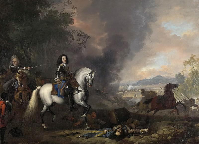 Huchtenburg, Jan van -- Hendrik Casimir II (1657-96), vorst van Nassau-Dietz. Als aanvoerder bij een veldslag, 1692. Rijksmuseum: part 4