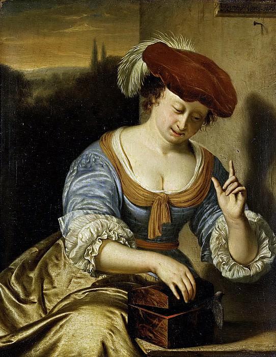 Mieris, Frans van (I) -- De ontsnapte vogel, allegorie op de verloren kuisheid, 1676. Rijksmuseum: part 4