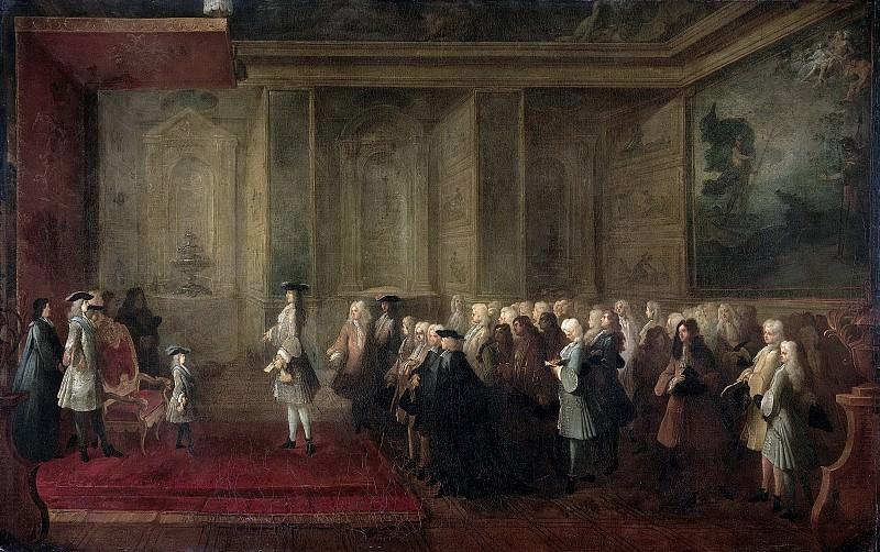 Dumesnil, Louis-Michel -- Ontvangst van Cornelis Hop als gezant der Staten Generaal aan het hof van Lodewijk XV, 24 juli 1719, 1720-1729. Rijksmuseum: part 4