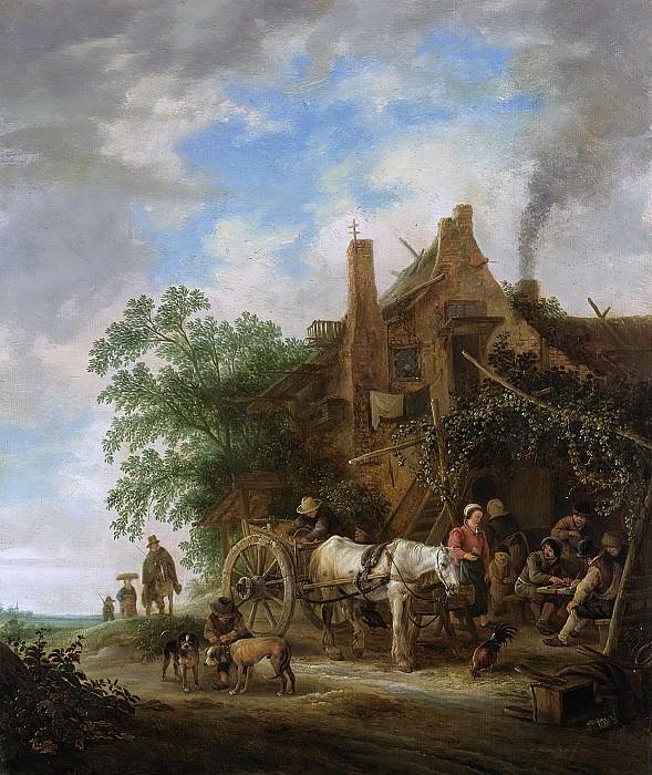 Исаак ван Остаде -- Лошадь и двуколка у деревенского трактира, 1640-49. Рейксмузеум: часть 4