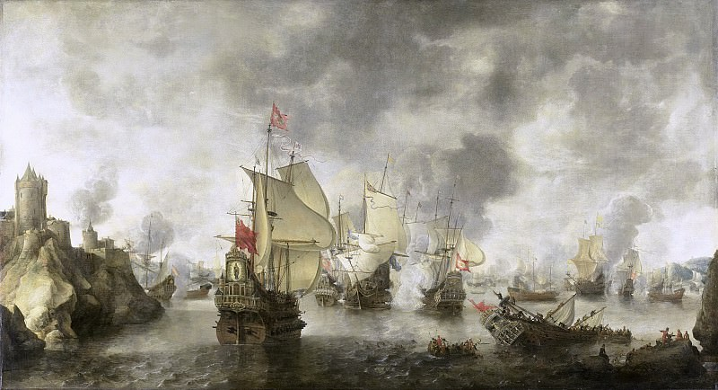 Beerstraten, Abraham -- Slag van de verenigde Venetiaanse en Nederlandse vloten tegen de Turken in de Baai van Foja, 1649., 1656. Rijksmuseum: part 4