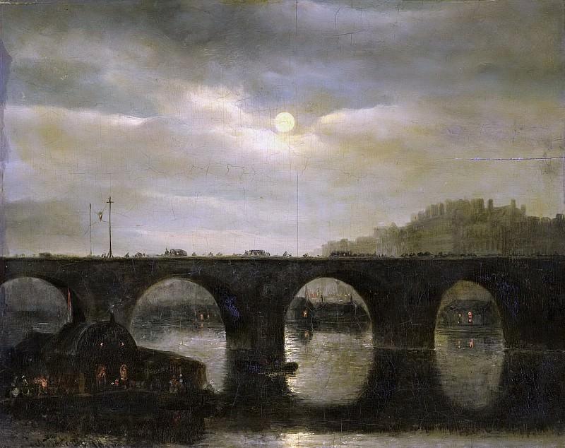Waldorp, Antonie -- Gezicht op een Seinebrug te Parijs bij maanlicht, 1835. Rijksmuseum: part 4
