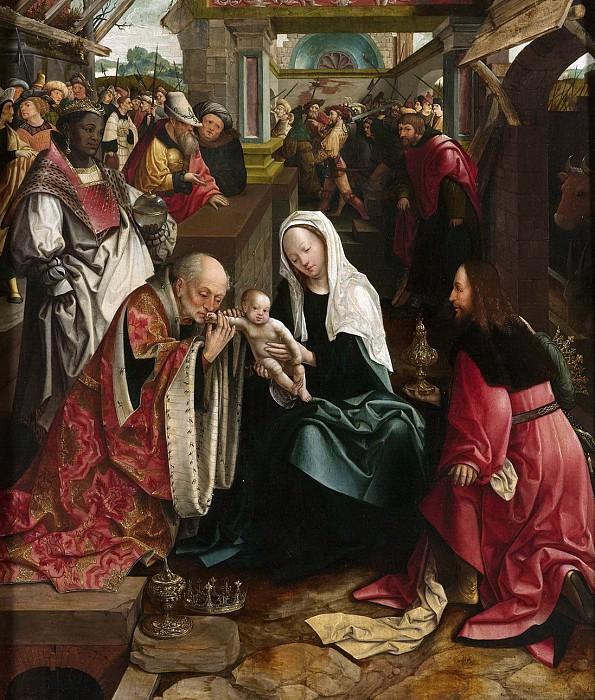 Якоб Корнелис ван Остсанен -- Триптих со сценой поклонения волхвов (срединная панель), 1517. Рейксмузеум: часть 4