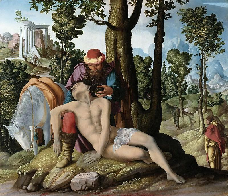 Meester van de Barmhartige Samaritaan -- De barmhartige Samaritaan, 1537. Rijksmuseum: part 4