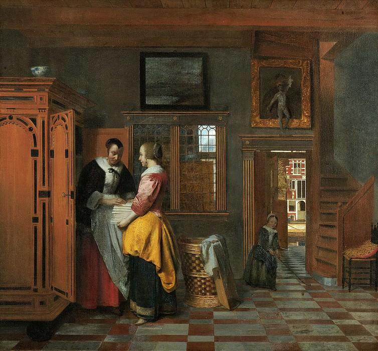 Hooch, Pieter de -- Binnenhuis met vrouwen bij een linnenkast, 1663. Rijksmuseum: part 4