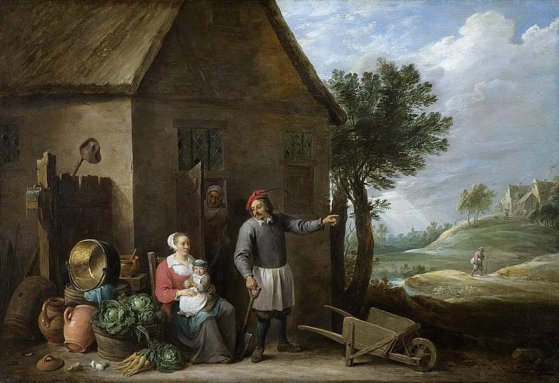 Teniers, David (II) -- Een boer met zijn vrouw en kind voor de boerderij, 1640-1670. Rijksmuseum: part 4