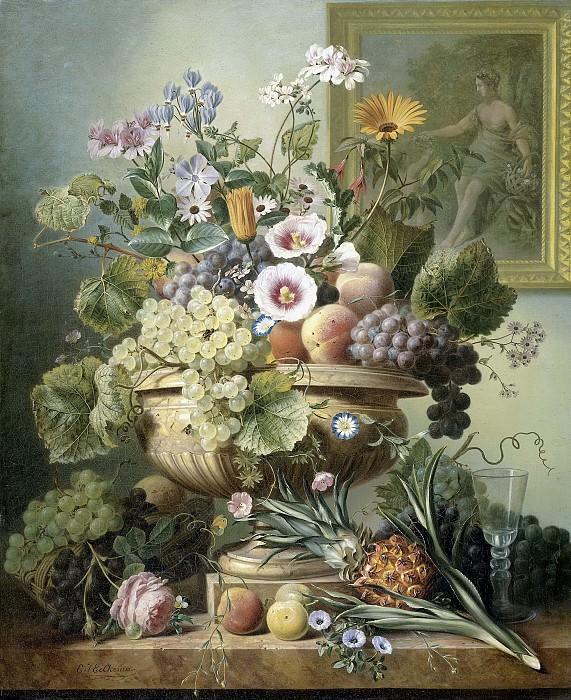 Eelkema, Eelke Jelles -- Stilleven met bloemen en vruchten, 1815-1830. Rijksmuseum: part 4