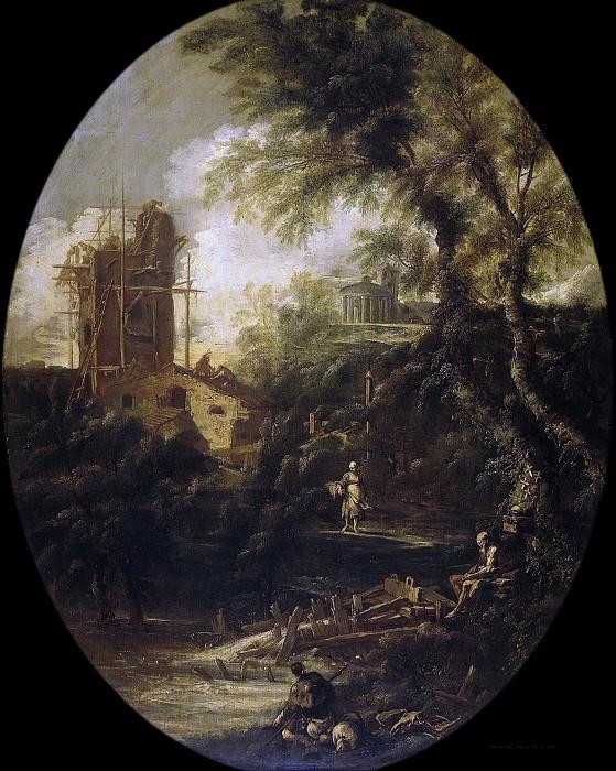 Peruzzini, Antonio Francesco -- Landschap met kluizenaar, pelgrim en boerin, 1690-1740. Rijksmuseum: part 4