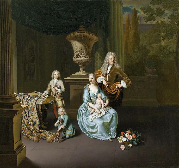 Mieris, Willem van -- Diederik Baron van Leyden van Vlaardingen (1695-1764) met vrouw en drie zonen, 1728. Rijksmuseum: part 4