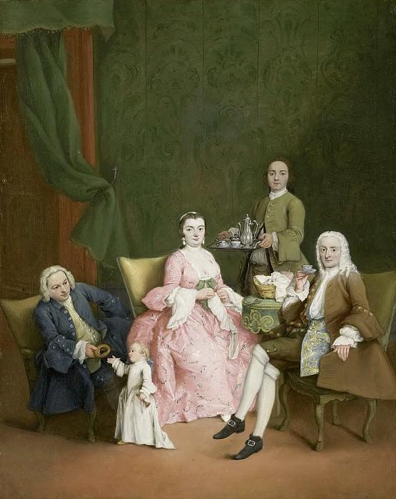 Longhi, Pietro -- Portret van een Venetiaanse familie met een bediende die koffie serveert, 1752. Rijksmuseum: part 4