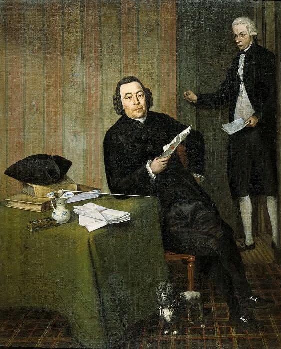 Hendriks, Wybrand -- Wernerus Köhne (1725-88). Notaris te Haarlem, met zijn knecht Jan Bosch, 1787. Rijksmuseum: part 4