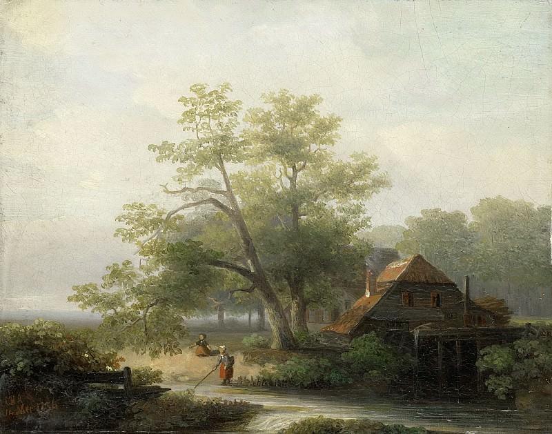 Arends, Lodewijk Hendrik -- Watermolen in een bosachtig landschap, 1854-05-14. Rijksmuseum: part 4