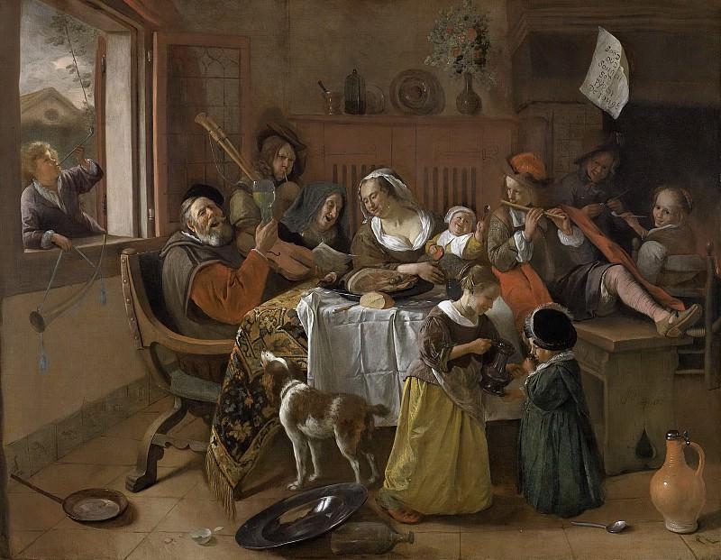 Steen, Jan Havicksz. -- Het vrolijke huisgezin, 1668. Rijksmuseum: part 4