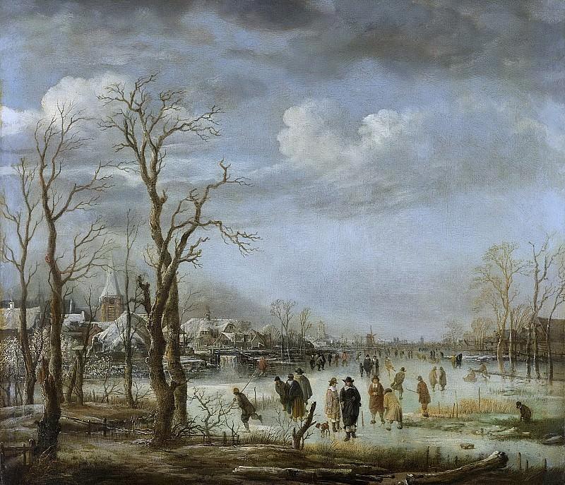 Арт ван дер Неер -- Вид реки зимой, 1630-1660. Рейксмузеум: часть 4