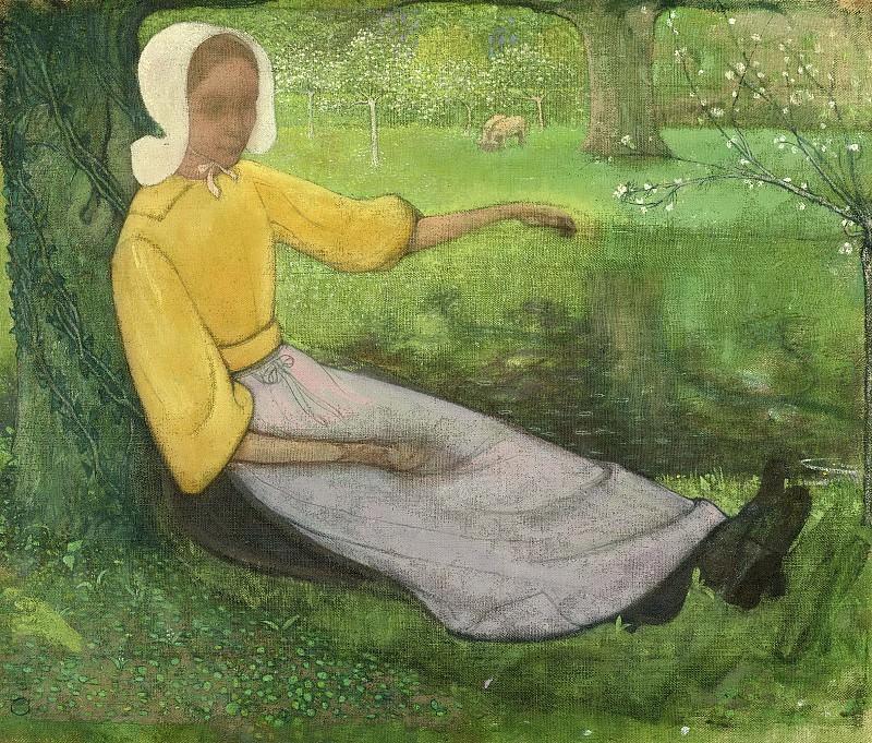 Рихард Роланд Хольст -- Хозяйка дома, сидящая под деревом, 1888-1895. Рейксмузеум: часть 4