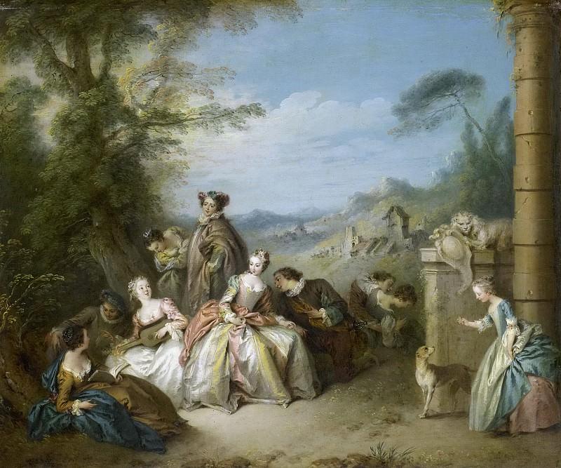 Pater, Jean Baptiste François -- Fête-galante (Galant gezelschap in een landschap), 1730-1735. Rijksmuseum: part 4