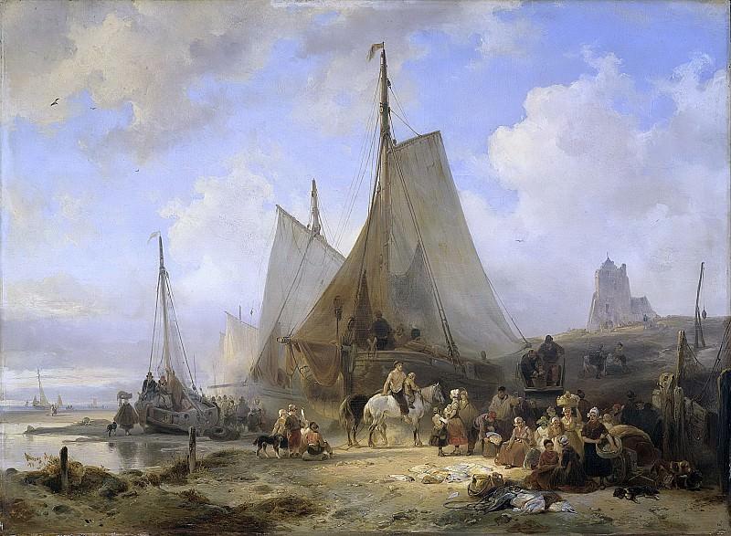 Nuijen, Wijnand -- Vissersschepen op het strand met vissers en vrouwen die de vangst sorteren, 1835. Rijksmuseum: part 4