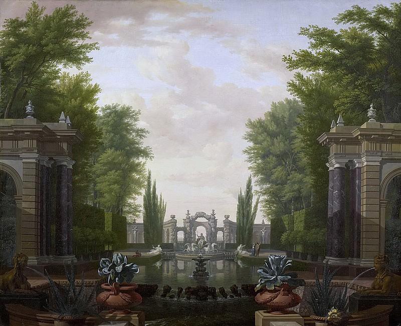 Moucheron, Isaac de -- Waterpartij met beelden en gebouwen in een park, 1700-1744. Rijksmuseum: part 4