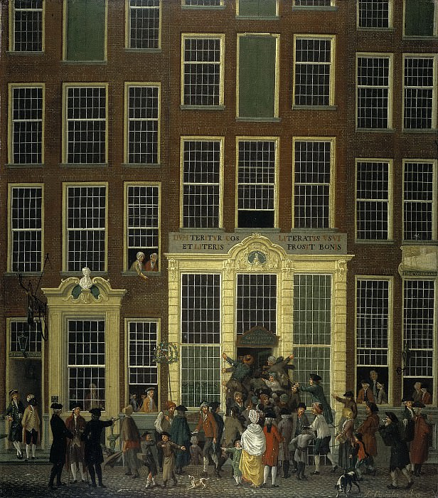 Исаак Оуватер -- Книжная лавка и лотерейная контора Яна де Гроота на улице Калверстраат в Амстердаме, 1779. Рейксмузеум: часть 4