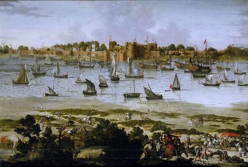 Unknown artist -- Gezicht op de haven van Suratte (Gujarat), 1670. Rijksmuseum: part 4