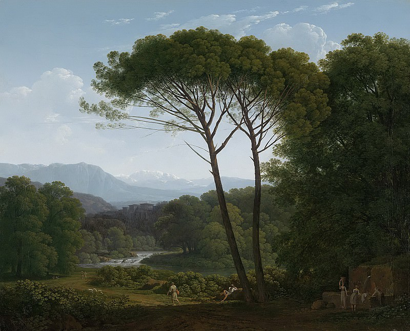 Хендрик Воогд-- Итальянский пейзаж с соснами на переднем плане, 1795. Рейксмузеум: часть 4