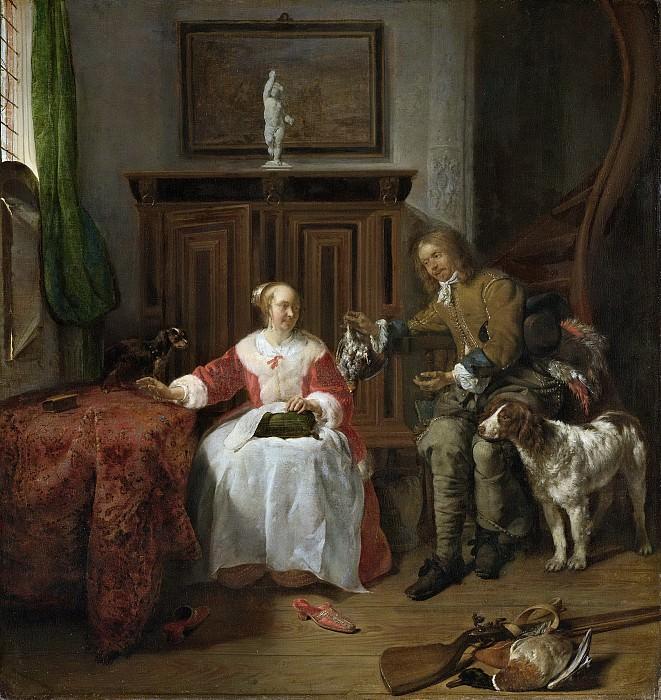 Metsu, Gabriël -- Het geschenk van de jager, 1650-1660. Rijksmuseum: part 4