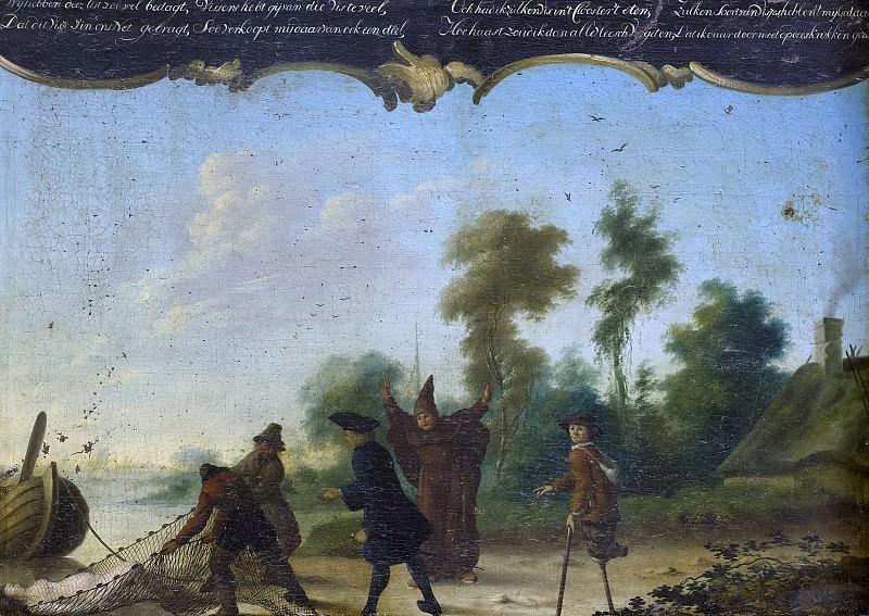 Vianey, Joseph Pierre -- Allegorie op de vrije liefde, een heer, een monnik en een bedelaar sprekend met twee vissers die een vrouw in een net gevangen hebben, 1761. Rijksmuseum: part 4