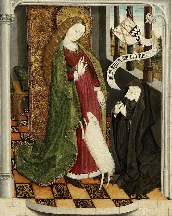 Неизвестный художник -- Гертрей Хак-ван Слингеландт, молящаяся в храме на коленях перед Святой Агнес, 1460-1470. Рейксмузеум: часть 4