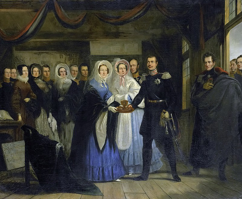 Portman, Christiaan Julius Lodewijk -- De prinses van Oranje ontvangt Alexander II, grootvorst en troonopvolger van Rusland, in het Czaar Peterhuisje te Zaandam, 17 april 1839, 1839-1840. Rijksmuseum: part 4