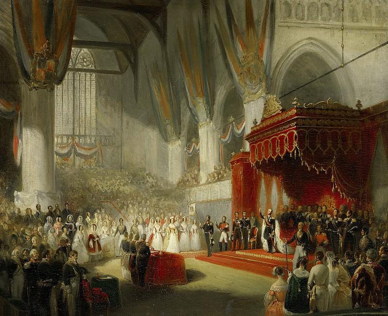 Pieneman, Nicolaas -- De inhuldiging van koning Willem II in de Nieuwe Kerk te Amsterdam, 28 november 1840, 1840-1845. Rijksmuseum: part 4